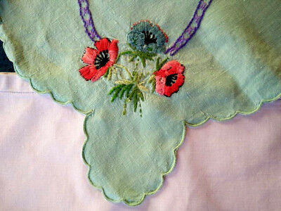Gorgeous Green Linen - Anemone Swags  Vintage Hand Embroidered Tablecloth