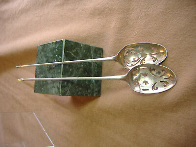 """Early Vintage Set Of Two Sterling Silver Spoons -Thin Handles -Fancy-5 1/2"""" Long"""