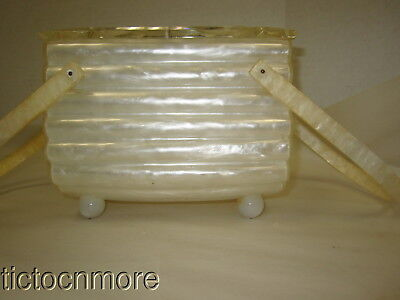 Vintage Llewelyn Inc Carved Top White Pearl Ribbed Ball Footed Lucite Box Purse