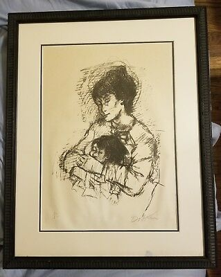 Alexander Dobkin drawing of a Mother and Child. Signed in Pencil Limited Edition