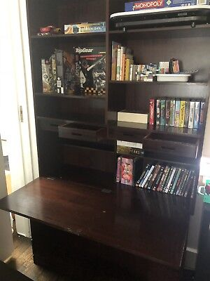 Vintage writing bureau with Dropdown Desk, Drawers And Book Case