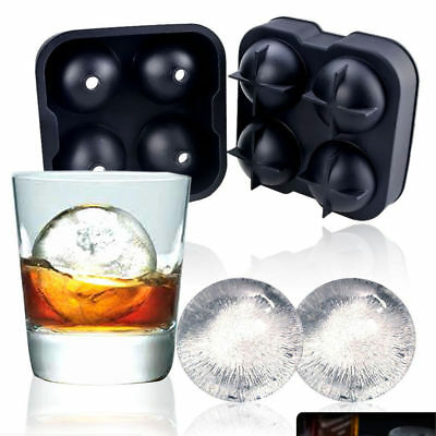4/6-balls Large Cocktail Ice Maker Sphere Tray Cube Whiskey DIY Round Mould