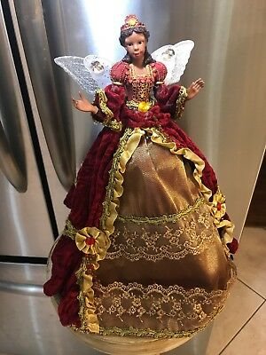 """African American Angel Christmas Tree Topper Red Gold 18"""" Table Top Black used"""