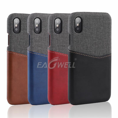 Fabric PU Leather Cover Case Card Slot For iPhone XS Max Huawei Mate 20 Oneplus6