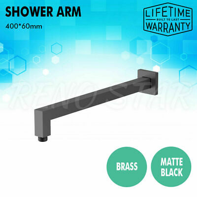 400*60mm Shower Arm Square Matte Black Brass Wall Mounted