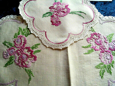 Gorgeous Cerise Flowers  ~ Vintage Hand Embroidered Centrepiece