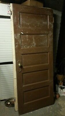 "Antique Wood Brown Five Panel Door 79"" 1/4 x 32"" x 1"" 5/16"