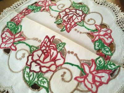 Beautiful Dark Red Roses & Buds Vintage Hand Embroidered/Cutwork Centrepiece