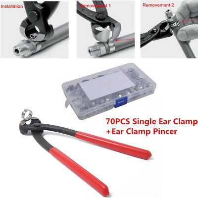 70PCS 9 Sizes Single Ear Clamp Hose Clamp+Stainless Steel Ear Clamp Pincer Kit
