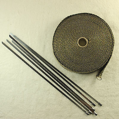 2000F Titanium EXHAUST HEAT RESISTANT WRAP 25MM X 4.5M + 6 STAINLESS STEEL TIES