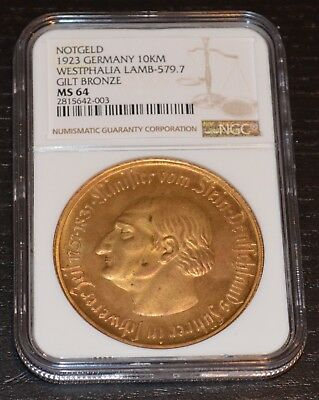 1923 Germany Westphalia Notgeld 10000 Mark Graded by NGC as MS 64 Tripling Error