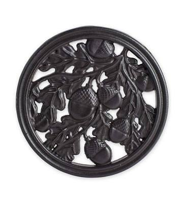 Cast Iron Acorn and Oak Leaves Trivet with Feet