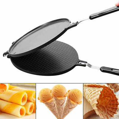 Nonstick Regular Ice Cream Waffles Cone Maker Baker Machine Egg Roll Bakeware