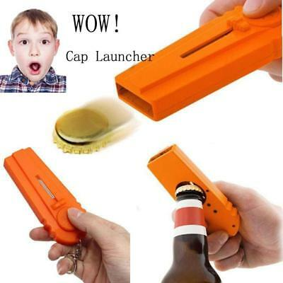 Flying Beer Drinks Bottle Opener Cap Launcher Top Shooter Gun Key Ring Bar Cool