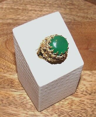 Solid Brass Twisted Wire Cocktail Ring w/Emerald Green Gem Stone-Made in Germany