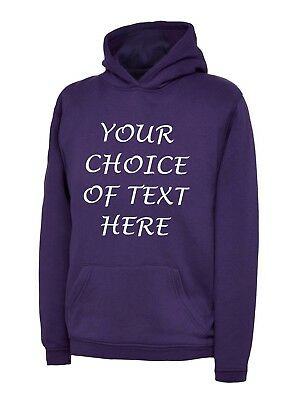 Personalised Glitter Or Plain Printed Hoodies & T Shirts Kids Tops Age 3-13 New