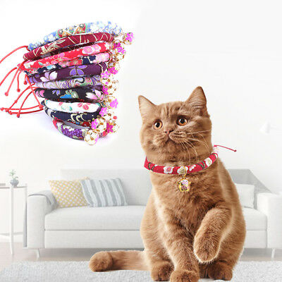 Dog Cat Collar Pet Puppy Kitten Adjustable Harness Neck Strap with Floral Bell