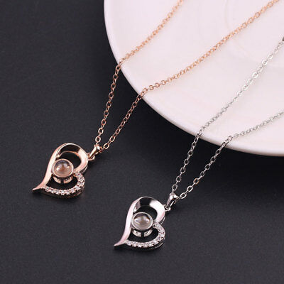 I LOVE YOU In 100 Languages Memory Of LOVE Rose Gold Silver Pendant Necklace
