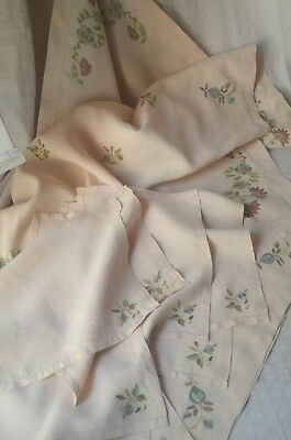 Pure linen embroidered table cloth, 8 napkins, 2 tray cloths,unused, silk thread