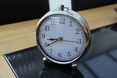 Round Silver Pocket Watch Fob Style Mantel Clock With Feet