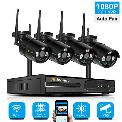 1080P 8CH NVR Wireless Outdoor Security Camera System 4Pcs Wifi Home CCTV Set