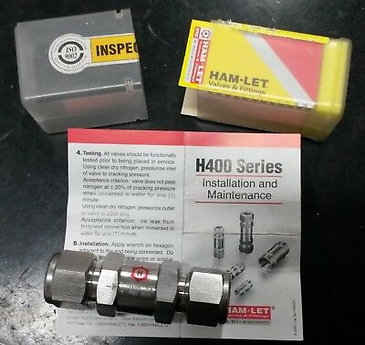 """Check Valve 1/2"""" Stainless 2000 Psi / 1 Bar Cracking Automotive Marine Industry"""