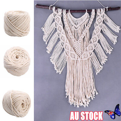 6mm Macrame Rope Natural Beige Cotton Twisted Cord Artisan Hand Craft 100M lk
