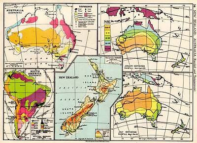 New Zealand : Australia (Rainfall & Temperature) 1936 Original Antique Color Map