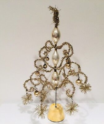 Antique German Victorian Wire & Tinsel Tree - 10""