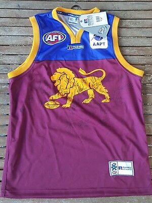 SIGNED 2005 Official Brisbane Lions BBFFC Authentic jersey guernsey. Size: Large