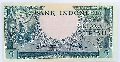 Indonesia Rupiah 5 Banknote Good Condition (Uncirculated) Lima 50'S? Orangutang