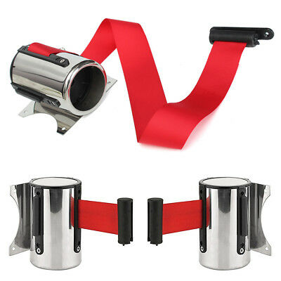 Retractable Stanchion Control Queue Barrier Warning Strap Belt Wall Mount Ribbon