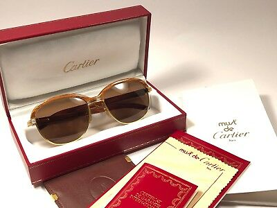 f12d73d7e13 Vintage Cartier Malmaison Bubinga Precious Light Wood 54Mm Sunglasses  France 18K