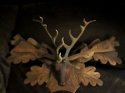Vintage Wood Deer stag black forest Cuckoo Hunters Clock Parts guns German