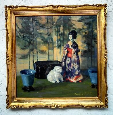 LISTED American Artist HENRY IVES COBB JR. o/c Still Life with Japanese Doll