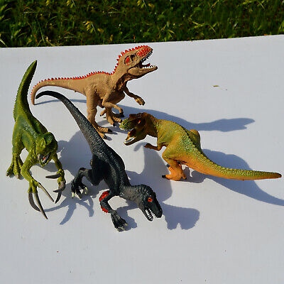 4pcs Assorted Dinosaurs Plastic Kids Toy Figures Therizinosaurus Giganotosaurus