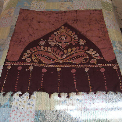 """VTG 75""""long/36""""wide100%Cotton Fabric w/Hand Traditional Wood-Block-Stamps PREOWN"""