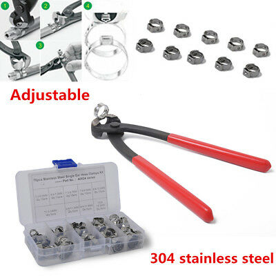 70PCS Single Ear Clamp Hose Clamp + Single Ear Clamp Pincer 304 Stainless Steel