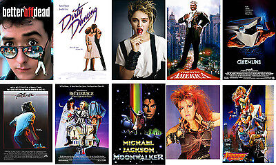 Radical 80's Party Poster set Dirty Dancing Footloose Beetlejuice Gremlins MJ