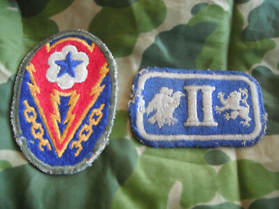 WW2 Original US ARMY ETO BASE SECTION PATCH & 2nd CORPS PATCH Lot