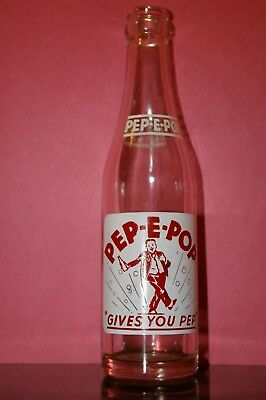 Vintage 1951 PEP E POP ACL SODA BOTTLE Decatur Illinois Nearly Perfect