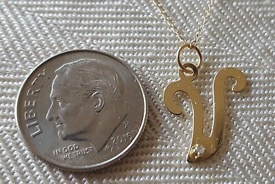 """14K Solid Yellow Gold & Diamond Letter V Pendant w 14K, 20"""" Necklace Chain"""