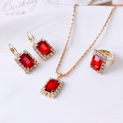 Gold Filled Wedding Band Ring Eardrop Earrings Charm Necklace Jewelry Sets Red