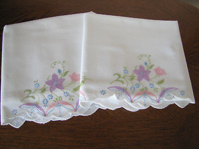 Vintage Pair of Pillowcases Embroidered Cherry Blossoms & Primroses Exquisite