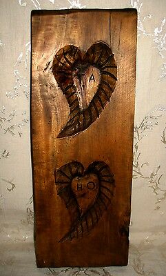 "Primitive Wood Plank Maple Syrup Candy Mold, ""Lover's Initials - T A & H O"""