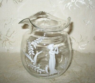 RARE Victorian 1890's Mary Gregory Clear Glass Vase, The WOW Factor!