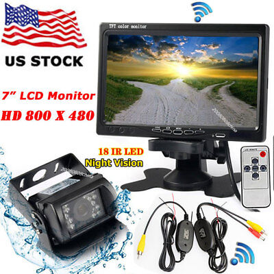 "Wireless IR Night Vision Backup Rear View Camera + 7"" LCD Monitor for Bus Truck"