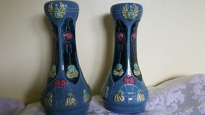 Art Nouveau x2 Antique Pair of Beautiful Tube Lined Vases Secessionist 9""
