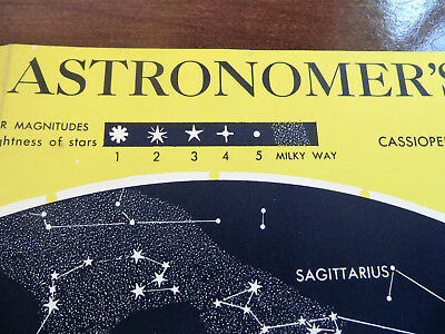 Astronomy - 1958 Large Star Chart - Free Shipping
