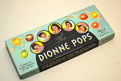 """Extremely Rare Dionne Quintuplets """"The Dionne Pops"""" Candy Box 1938"""